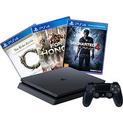Console PS4 Slim 500GB + 3 Jogos + Controle - Sony