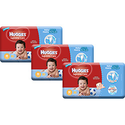 Kit 3 Fraldas Huggies Supreme Care Hiper Menino M - 240 Unidades