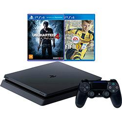 Console PS4 Slim 500G + 2 Jogos + Controle - Sony