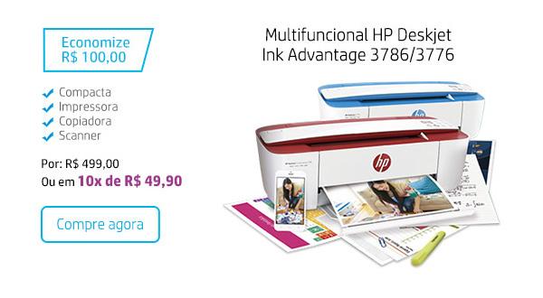Multifuncional HP Deskjet Ink Advantage 3786/3776. Economize R$ 100,00. Compacta, Impressora, Copiadora, Scanner. Por: R$ 499,00 Ou em 10x de R$ 49,90. Compre agora.
