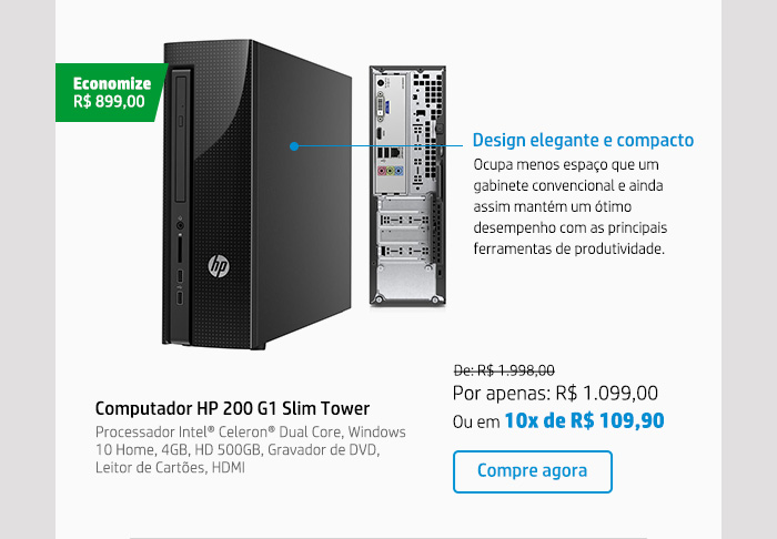 Computador HP 200 G1 Slim Tower