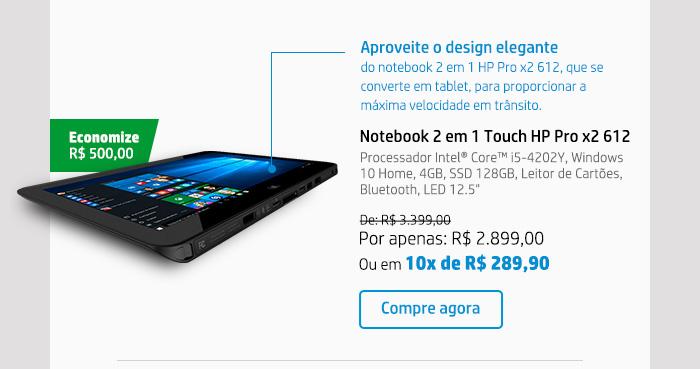 Notebook 2 em 1 Touch HP Pro x2 612