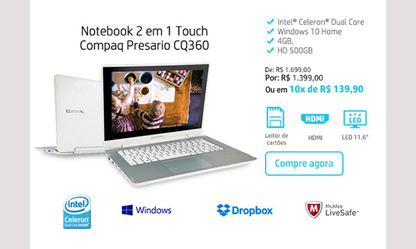 Notebook 2 em 1 Touch Compaq Presario CQ360