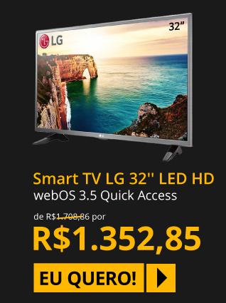 TV 32 LED LG LJ600B HD Smart TV webOS 3.5 Quick Access Magic Mobile Connection Entradas HDMI 2 e USB 1